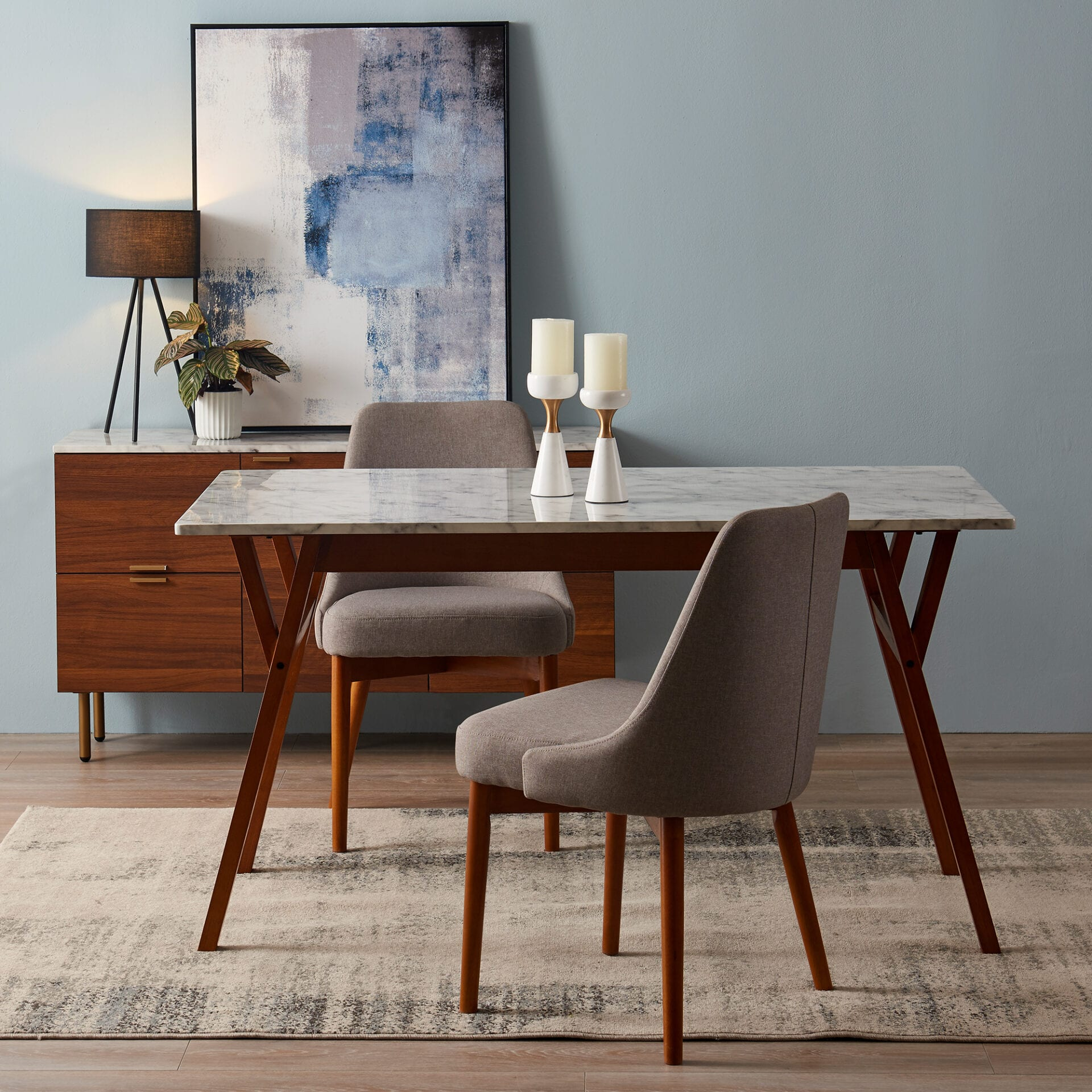 Dining Table Faux Marble Top Walnut Legs Teamson Home Uk