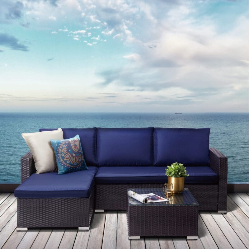 Patio Furniture Sets Archives Teamson, Peaktop 3 Piece Wicker Patio Set With Cushions